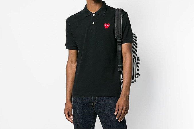 Camiseta Polo Comme des Garcons Play Heart - Black