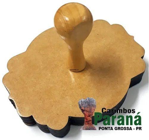 KIT - Carimbo De Madeira Personalizado 15x15 cm + Almofada E Tinta