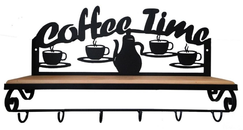 Prateleira Ferro Madeira Rústica Coffee Time Estante Vintage