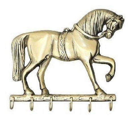 Porta Chaves Em Bronze Cavalo Majestoso 6 Pinos Claviculário