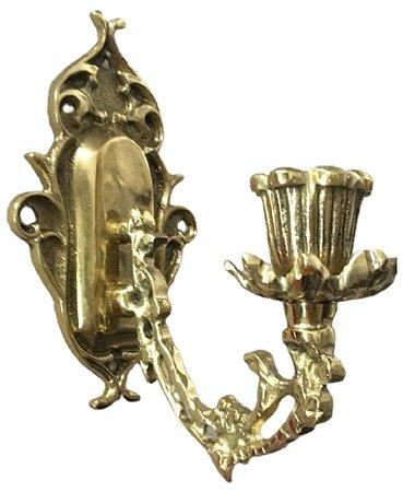 Castiçal Arandela Em Bronze Decoração Vela Iluminação