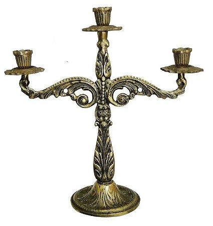 Castiçal 3 Velas 30 Cm Bronze Trabalhado Decorações Igrejas Jantares