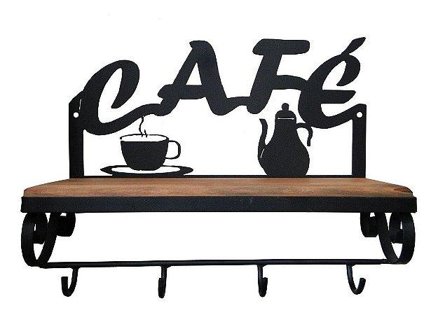 Prateleira Ferro E Madeira Rústica Café Estante Vintage Cozinha