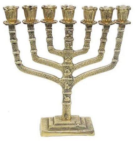Castiçal 7 Velas Menorah 28 Cm Bronze Decoração Presentes Candelabro