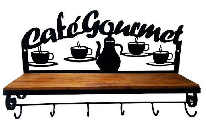 Prateleira Em Ferro E Madeira Rústica Café Gourmet Retrô Vintage