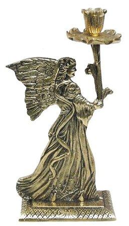 Castiçal Anjo 1 Vela Bronze Presentes Igrejas Religião Cultos