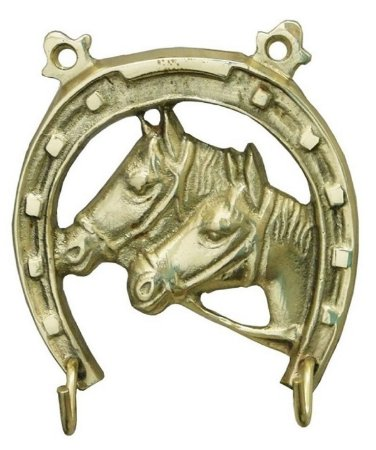 Porta Chaves Ferradura Cavalo Em Bronze Decoração Com 2 Ganchos