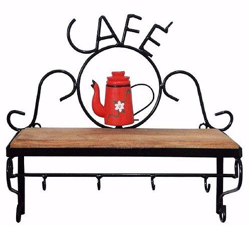 Prateleira Ferro E Madeira Rústica Estante Café Vermelha