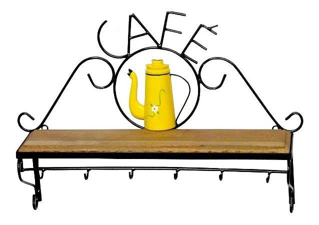 Prateleira Em Ferro E Madeira Rústica Café Estante Amarela