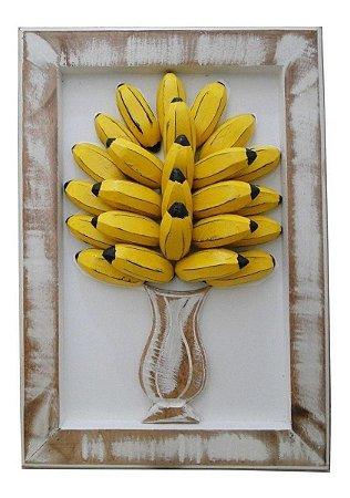 Quadro Rústico Madeira Vaso Bananas Relevo Tamanho Natural