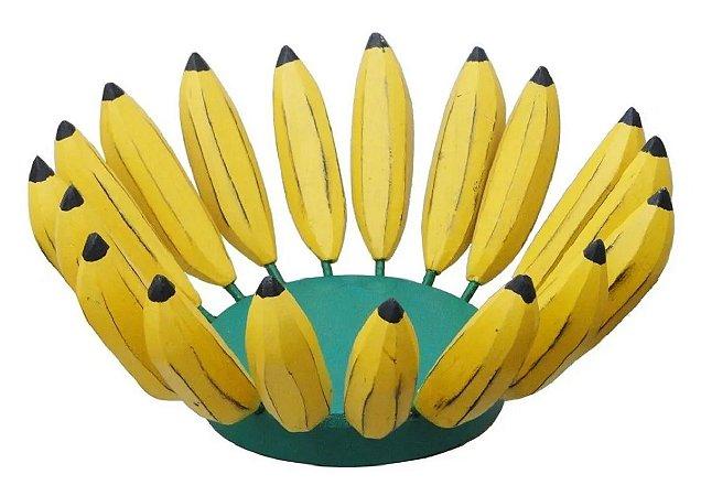 Fruteira Artesanal E Rústica Bananas Madeira E Ferro Linda