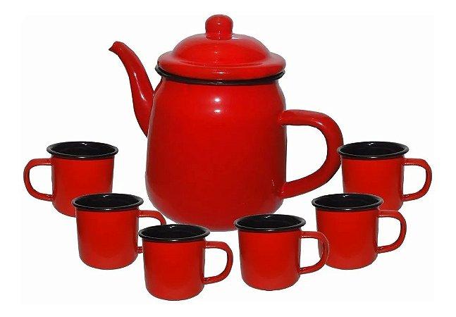 Bule Vermelho 1 Litro E 6 Canecas Vermelhas 80 Ml Esmaltadas