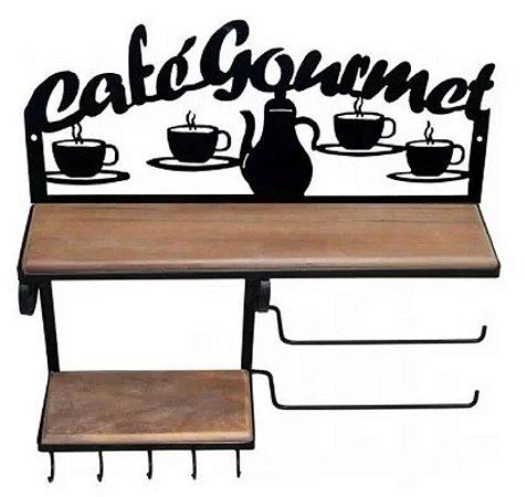 Prateleira Rústica Café Gourmet Ferro E Madeira Papel Toalha