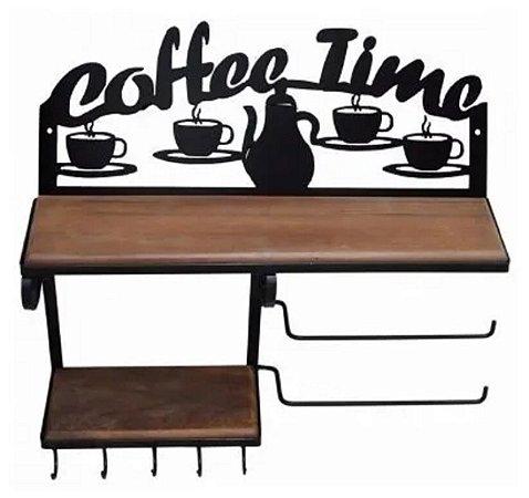 Prateleira Rústica Dupla Coffee Time Ferro E Madeira Papel Toalha