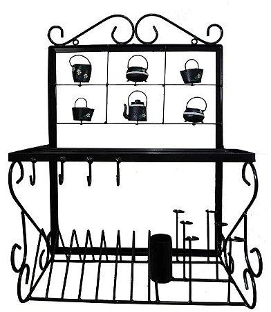 Prateleira Ferro Grande Porta Pratos Talheres Cozinha Preto E Branco