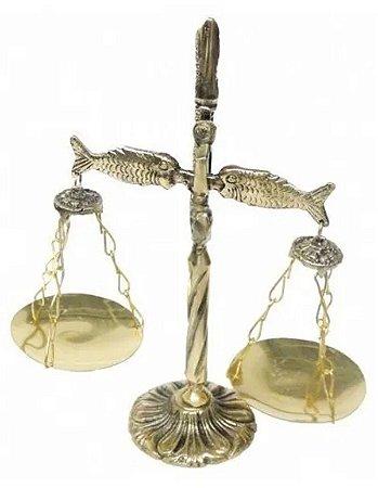 Símbolo Do Direito Balança Peixes Bronze Decoração Advogados