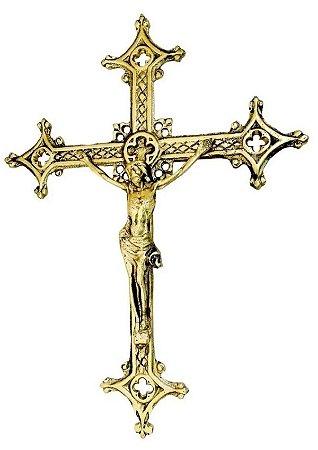 Crucifixo Parede Bronze 37 Cm Decoração Igreja Jesus Cristo