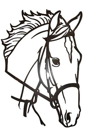 Painel Cara De Cavalo Artesanal Em Ferro Haras 50 X 37 Cm Na Cor Betume