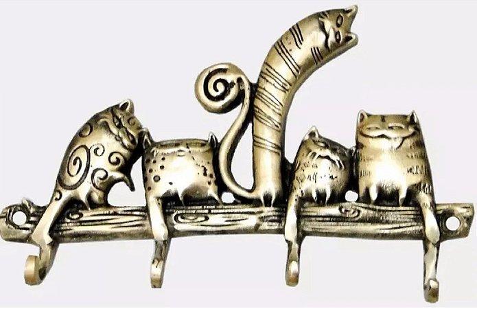 Cabide Porta Chaves Gatos Estilizados Em Bronze Decoração Lindo