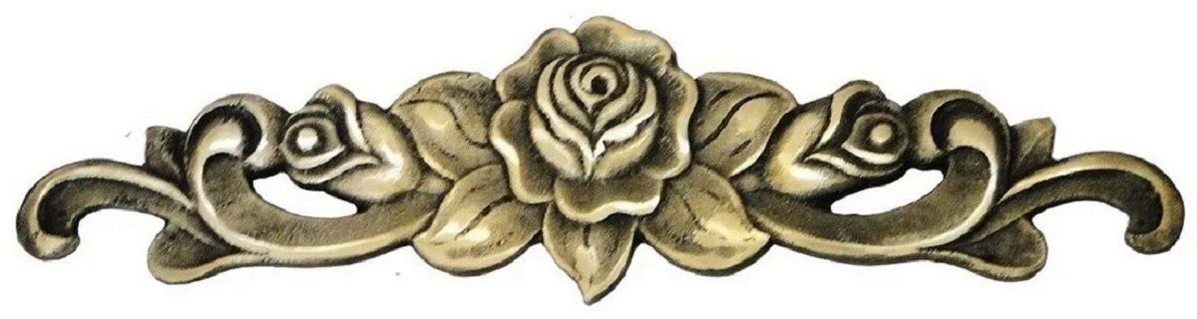Aplique Em Bronze Móveis Floral Grande 34 X 9 Cômoda Flores