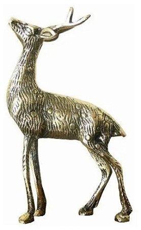 Veado Em Bronze Coleções Animais Selvas Bicho Decoração Mato*