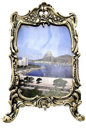 Porta Retrato Em Bronze Colonial Foto Lembrança Retrô 20 x 13 Cm*