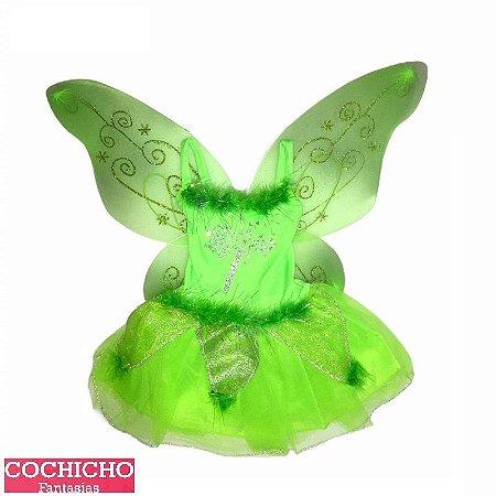 Fantasia Fada Green Glitter Infantil