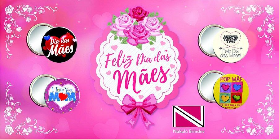 100 Botons Espelho Personalizado Dia das Mães