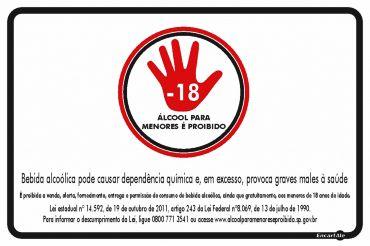 Placa Lei Proibido Bebida Alcoólica p/ Menores PS654 20x30CM
