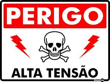 Placa Alta Tensao Caveira Ps823 20x15cm