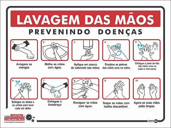 Placa Lavagem Das Mãos Covid 19 Ps505 15x20