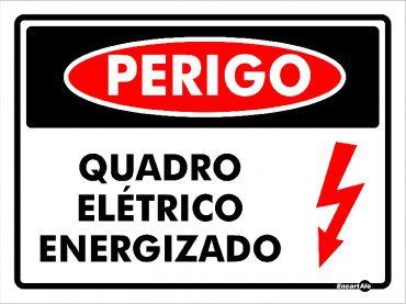 PLACA PERIGO QUADRO ELÉTRICO ENERGIZAD0 PS808 20X15CM