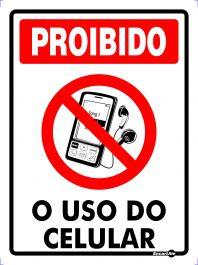 Placa Proibido Celular Ps157 15x20cm