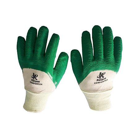 Luva de Algodão com Látex nos Dedos e na Palma Kalipso Confortex Verde CA 11127
