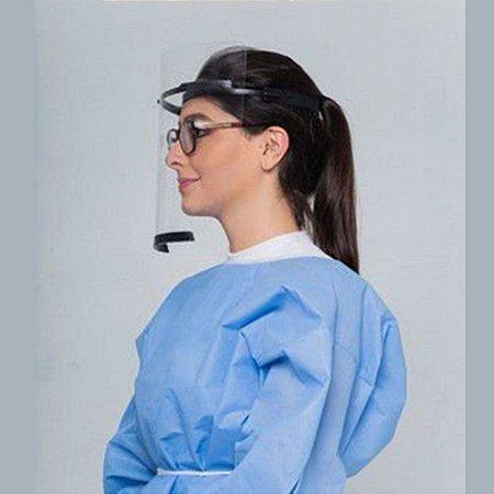 Viseira Protetor Facial Face Shield ARM3D Preto Caixa com 12 Peças