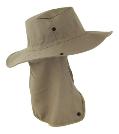 Chapéu Pescador Árabe Com Protetor de Nuca Bege Brim