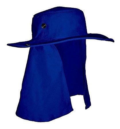 Chapéu Pescador Árabe Com Protetor de Nuca Azul Brim