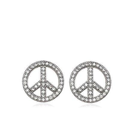 Brinco Prata Zircônia Símbolo da Paz