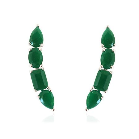 Brinco Ear Cuff Zircônia Verde Prata 925