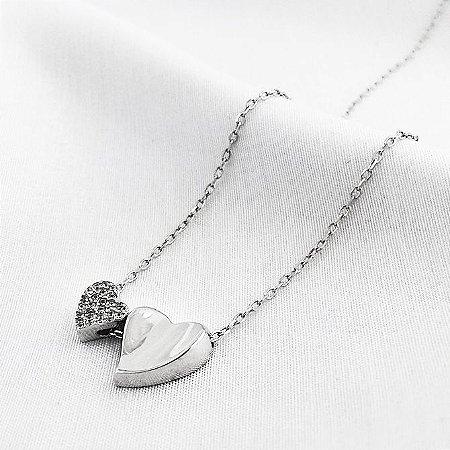Colar de Prata Dois Corações
