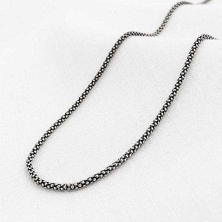 Corrente Prata Pipoca Envelhecida de 1,4 mm com 45 cm
