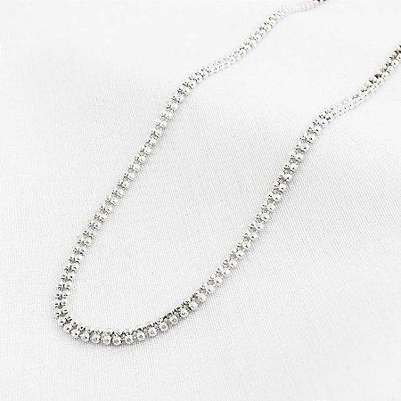 Corrente Prata Bolinhas Duplas com 40 cm