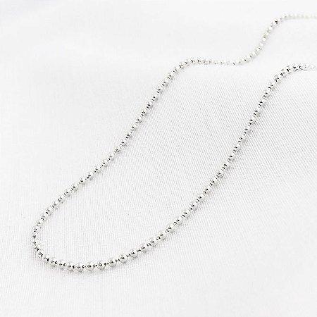 Corrente Prata Bolinhas com 45 cm