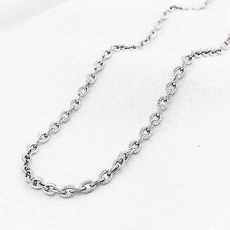 Corrente de Aço Cartier Cadeado Elos Trabalhados de 2,4 mm com 55 cm