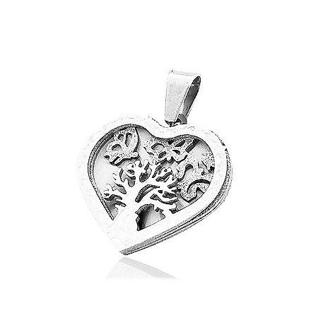 Pingente Aço Coração e Árvore da Vida