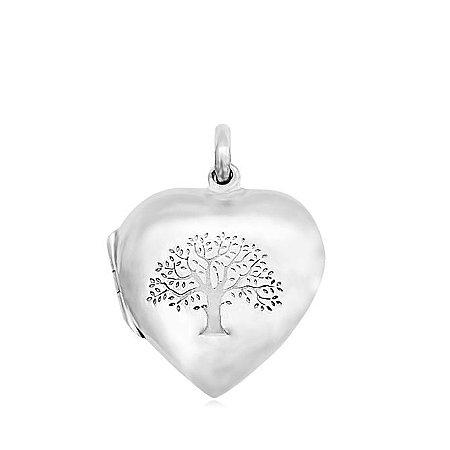 Pingente de Prata Relicário Coração
