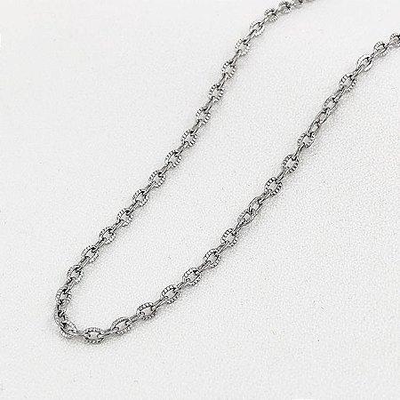Corrente de Aço Cartier Cadeado Elos Trabalhados de 1,6 mm com 55 cm