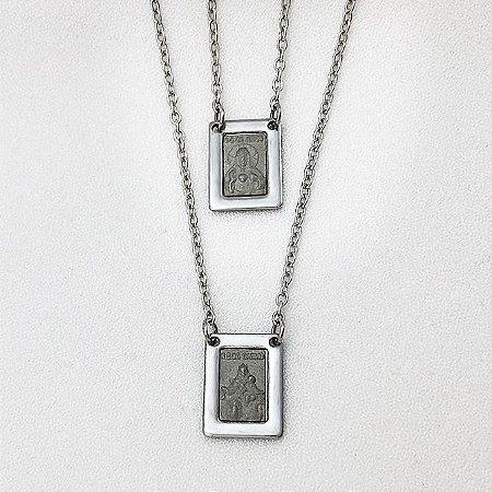 Escapulário de Aço Nossa Senhora do Carmo e Sagrado Coração de Jesus com 11,2 mm