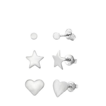 kit Brinco Prata com Bolinha, Estrela e Coração