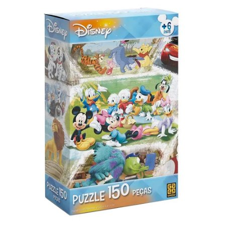 Brinquedo Puzzle Infantil Educativo Personagens Disney 150 Pç